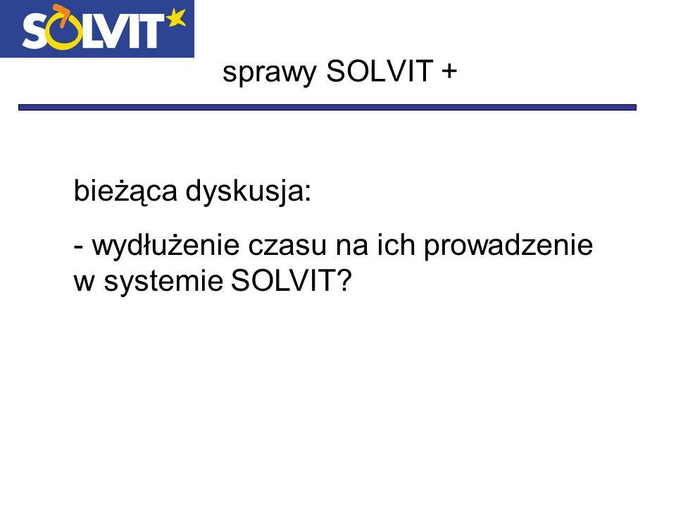sprawy SOLVIT + bieżąca dyskusja: - wydłużenie czasu na ich prowadzenie w systemie SOLVIT