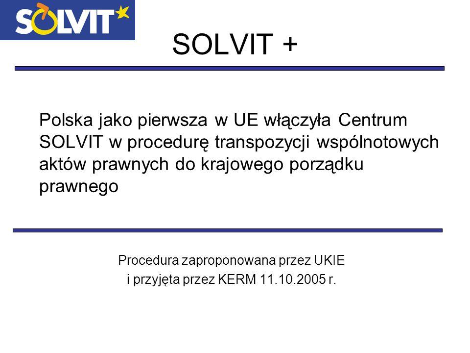Postanowienia Modyfikacji Procedury Transpozycji Aktów Prawnych Unii Europejskiej odnośnie do spraw SOLVIT + Dokument przyjęty przez KERM w dniu 27 kwietnia 2007 roku