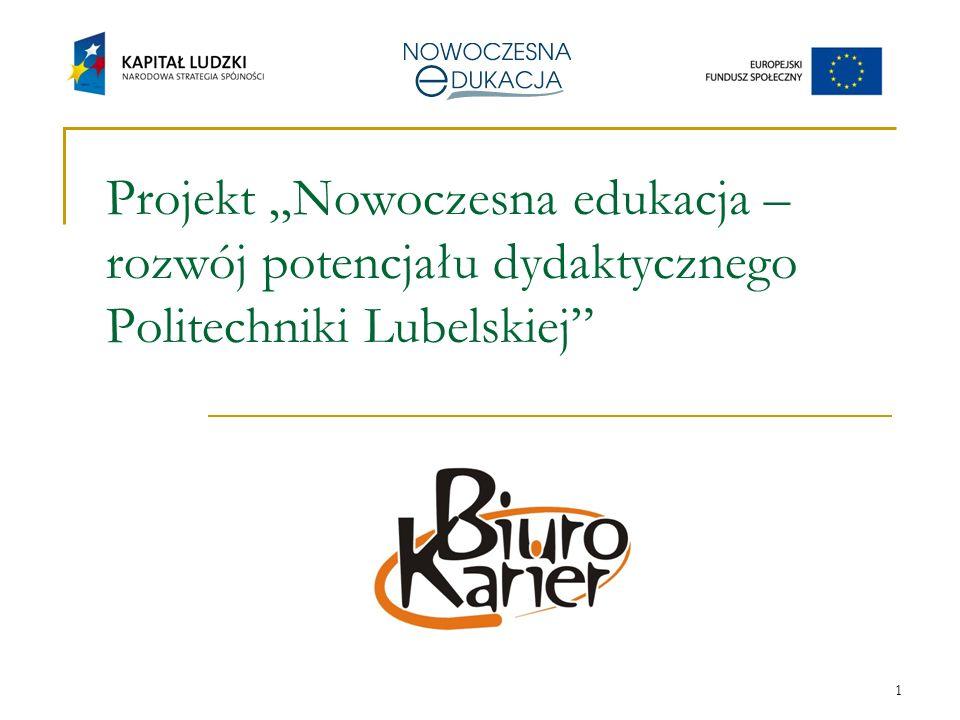 1 Projekt Nowoczesna edukacja – rozwój potencjału dydaktycznego Politechniki Lubelskiej