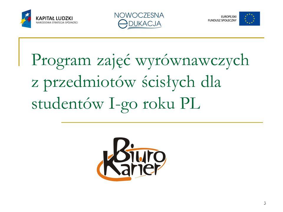 3 Program zajęć wyrównawczych z przedmiotów ścisłych dla studentów I-go roku PL