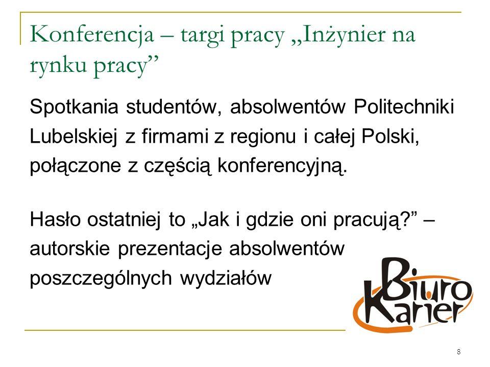 8 Konferencja – targi pracy Inżynier na rynku pracy Spotkania studentów, absolwentów Politechniki Lubelskiej z firmami z regionu i całej Polski, połączone z częścią konferencyjną.