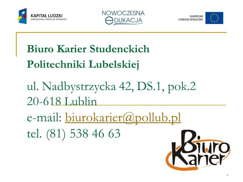 9 Biuro Karier Studenckich Politechniki Lubelskiej ul.