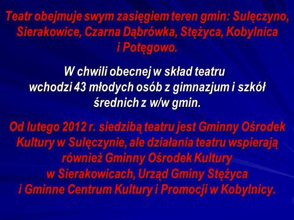 Teatr obejmuje swym zasięgiem teren gmin: Sulęczyno, Sierakowice, Czarna Dąbrówka, Stężyca, Kobylnica i Potęgowo. W chwili obecnej w skład teatru wcho