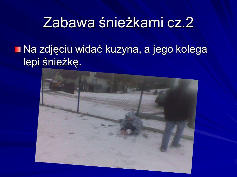 Zabawa śnieżkami cz.2 Na zdjęciu widać kuzyna, a jego kolega lepi śnieżkę.