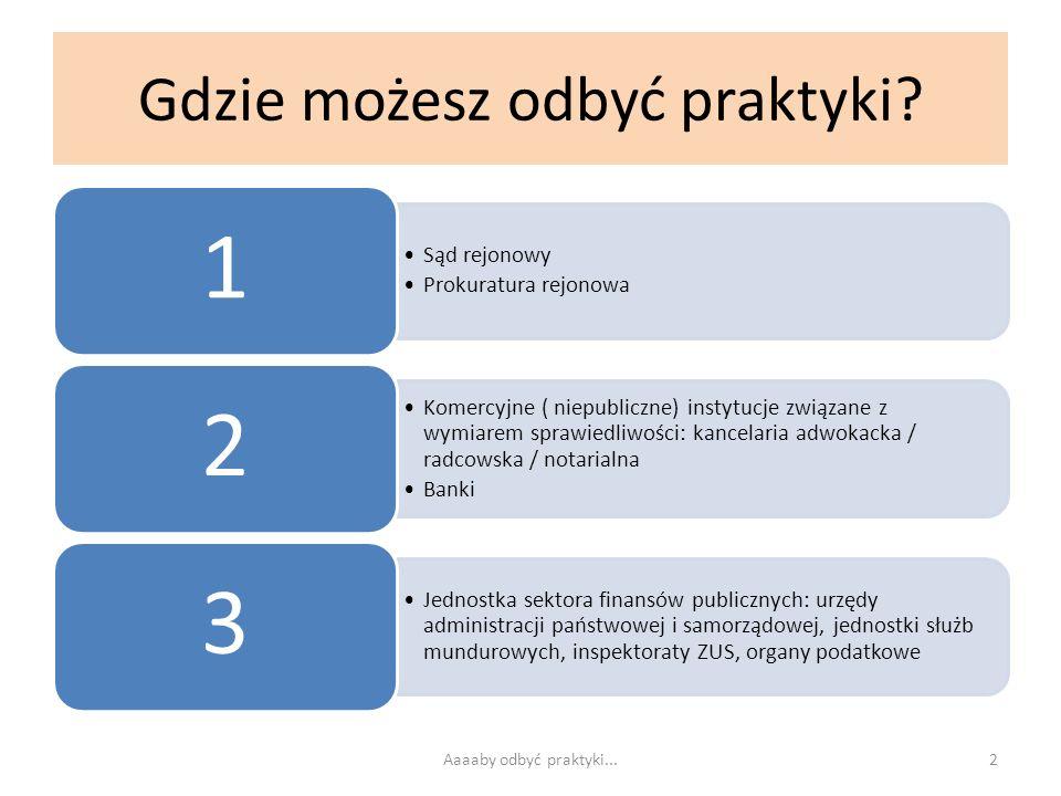 Aby odbyć praktykę w sądzie rejonowym / prokuraturze rejonowej 1 Przez stronę www.ebos.pl wejdź na strony wybranego przez siebie sądu (prokuratury)www.ebos.pl Wyszukaj – jeśli są tam podane – informacje o praktykach studenckich 2 Zadzwoń do oddziału administracyjnego lub działu kadr sądu (prokuratury) z pytaniami: czy w wybranym przez Ciebie terminie praktyk ( Regulamin § 2 -3 ) są wolne miejsca dla praktykantów oraz czy sąd (prokuratura) wprowadziła jakieś szczególne warunki / obostrzenia dla praktykantów Przykłady obostrzeń z ostatnich lat: wszystkie prokuratury podległe Prokuraturze Okręgowej w Tarnobrzegu – studenci wypełniają trzy odrębne dokumenty (m.in.