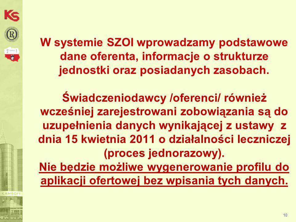 11 Portal SZOI Dane świadczeniodawcy Aby uzupełnić zakładkę Podmiot prowadzący działalność należy kliknąć przycisk Edytuj