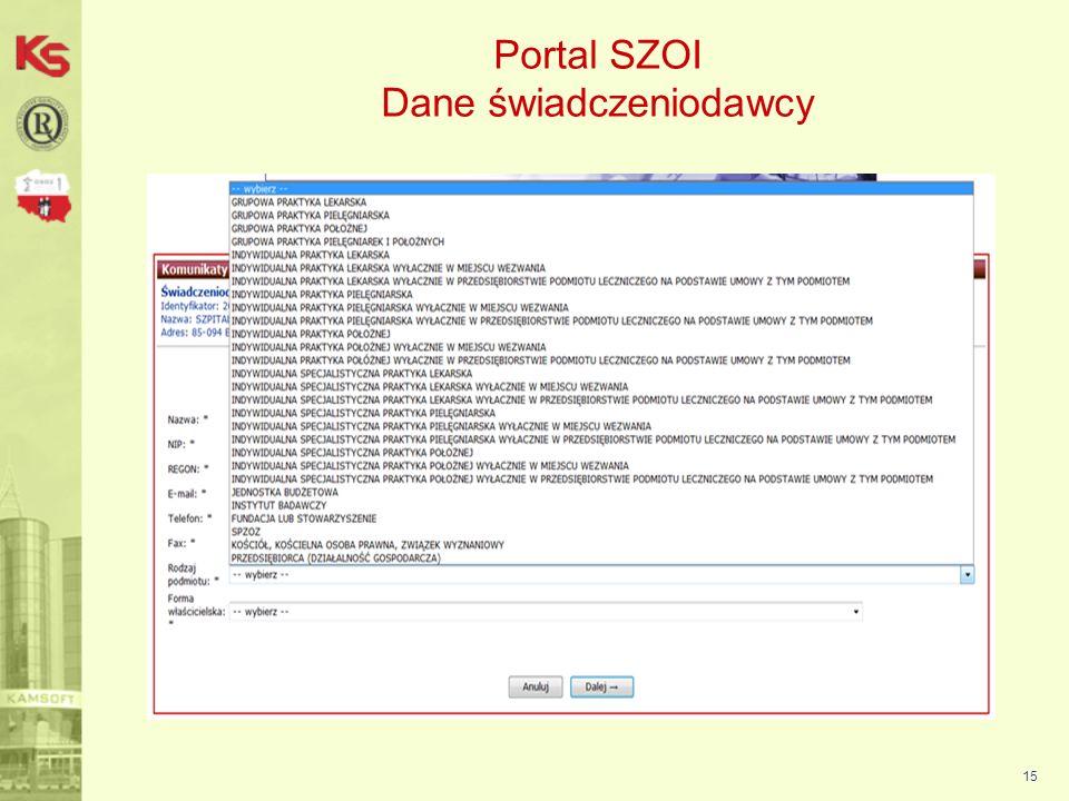 16 Portal SZOI Dane świadczeniodawcy