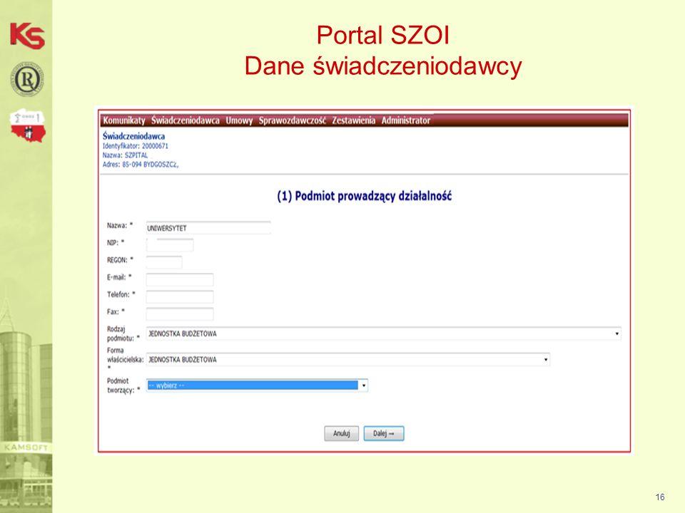 17 Portal SZOI Dane świadczeniodawcy
