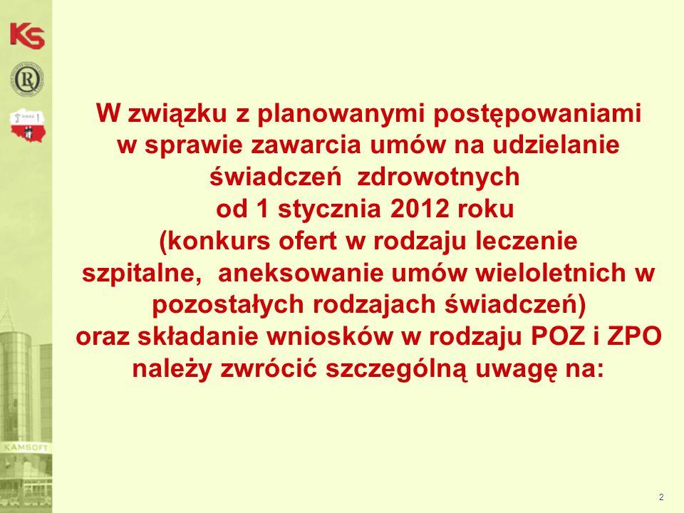 3 1.Ustalanie warunków finansowych dla umów wieloletnich niewygasających 31 grudnia 2011 roku : - pobierać zapytania ofertowe ze strony www.nfz-bydgoszcz.pl zamieszczone w komunikatach - przygotować dokumentacje aktualizującą obejmującą wszystkie zakresy zgodne z aktualnymi umowami (jedna koperta na jeden rodzaj, czyli na jedną umowę)www.nfz-bydgoszcz.pl