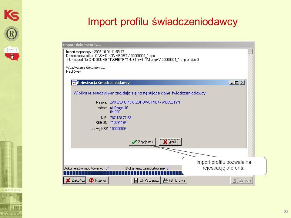 34 Import profilu świadczeniodawcy -wybór opcji TAK spowoduje, że dane podstawowe zostaną uzupełnione (w przypadku ich braku) lub nadpisane z pliku (w przypadku już wprowadzonych danych) -wybór opcji NIE spowoduje, że dane podstawowe pozostaną takie jak wprowadzono w programie Podczas importu profilu użytkownik określa czy dane podstawowe mają być przepisane do programu z pliku *.sps