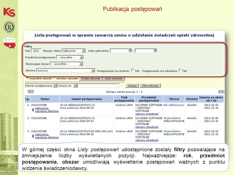Publikacja postępowań 41 Dane zostaną wyświetlone na liście po wybraniu opcji: Szukaj.