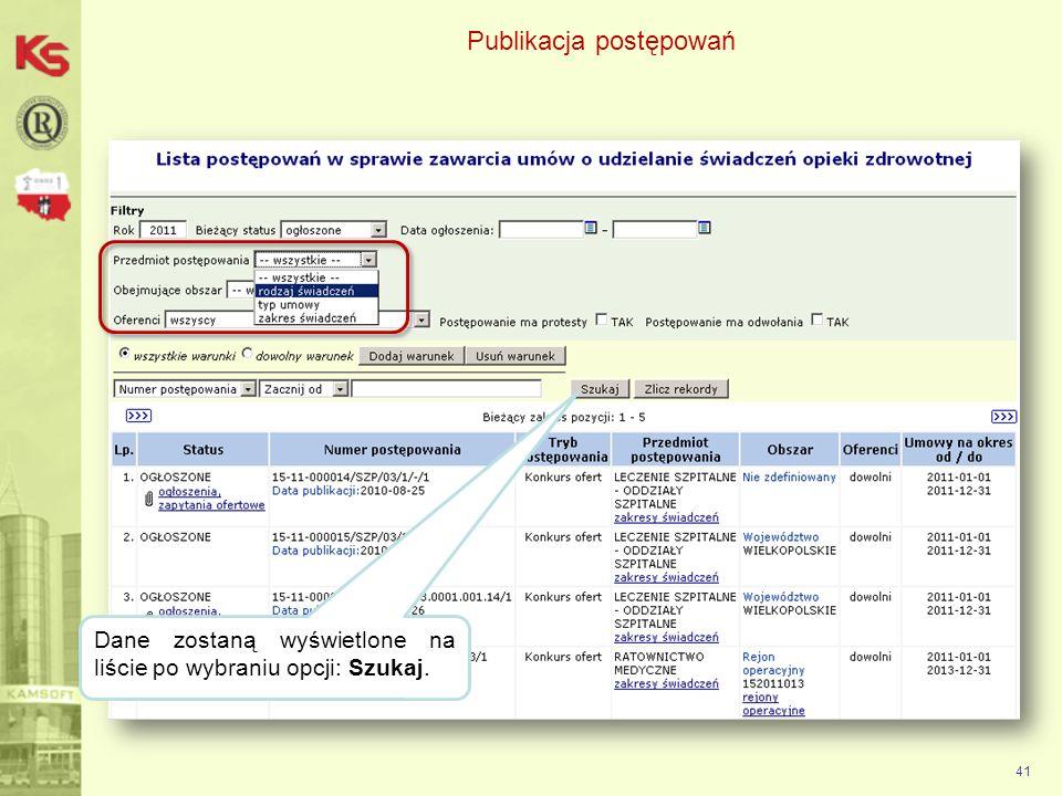 Publikacja postępowań 42 Wybierz opcję ogłoszenia, zapytania ofertowe aby pobrać pliki do przygotowania oferty.