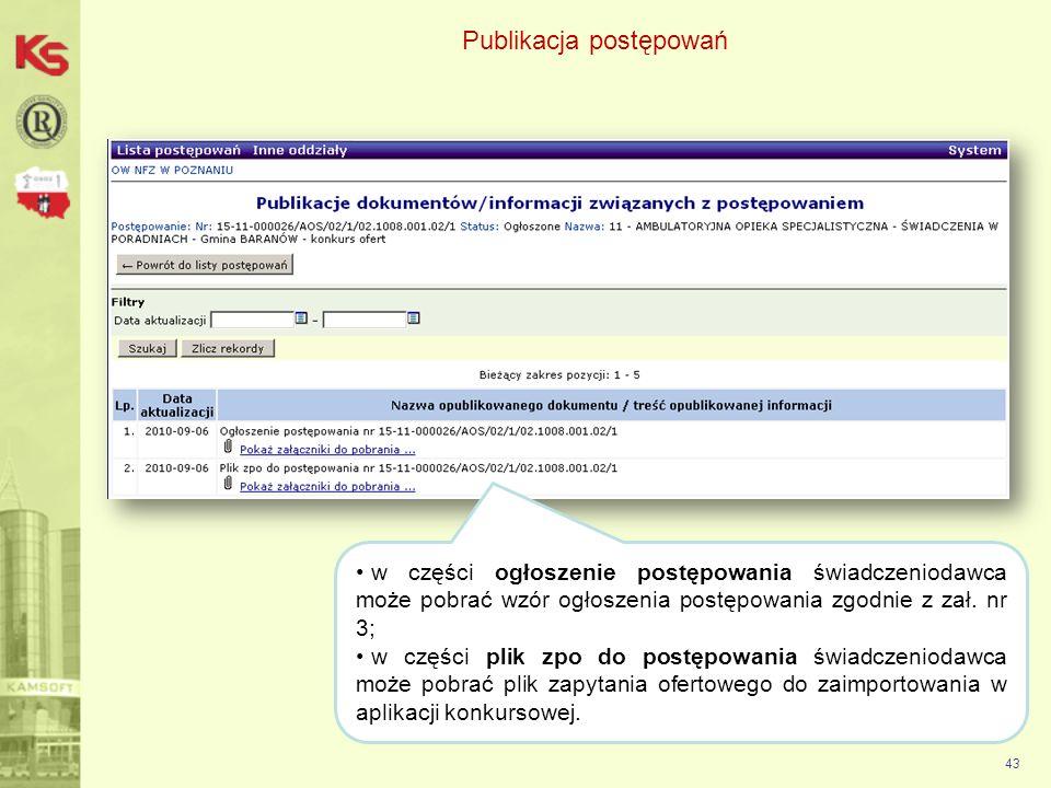 Publikacja postępowań 44 Przy pobieraniu należy zaznaczyć opcję Zapisz plik oraz wskazać lokalizację zapisu pliku.