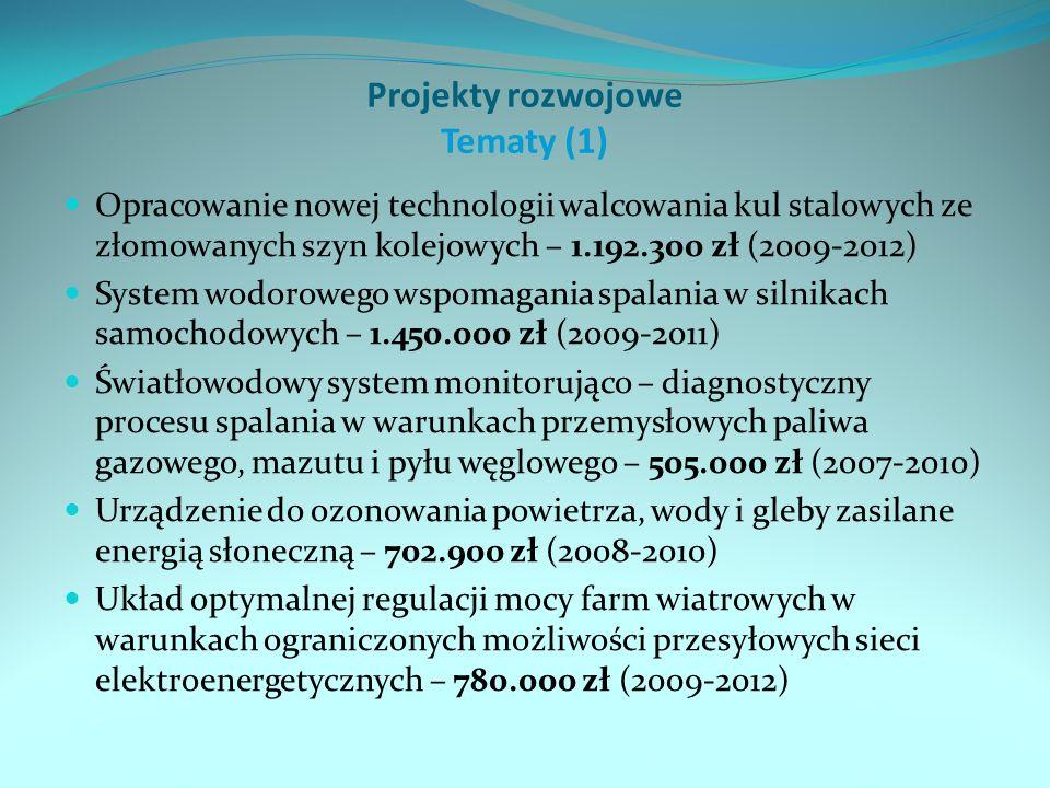 Projekty rozwojowe Tematy (1) Opracowanie nowej technologii walcowania kul stalowych ze złomowanych szyn kolejowych – 1.192.300 zł (2009-2012) System