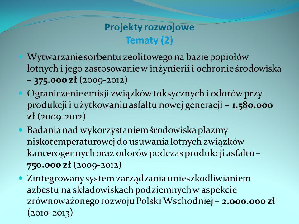 Projekty rozwojowe Tematy (2) Wytwarzanie sorbentu zeolitowego na bazie popiołów lotnych i jego zastosowanie w inżynierii i ochronie środowiska – 375.