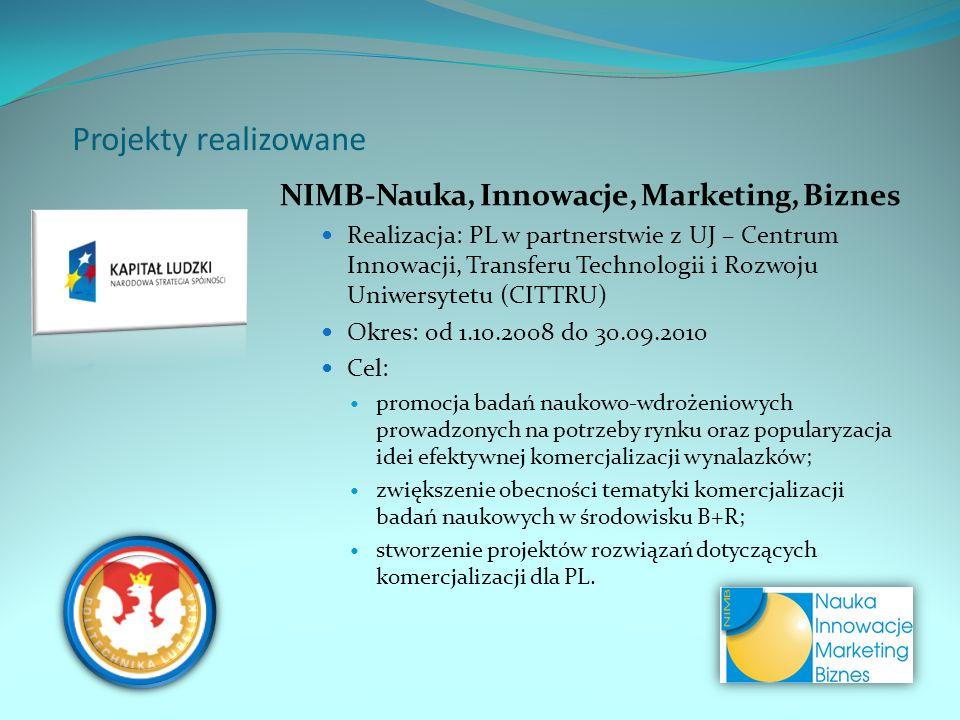 Projekty realizowane NIMB-Nauka, Innowacje, Marketing, Biznes Realizacja: PL w partnerstwie z UJ – Centrum Innowacji, Transferu Technologii i Rozwoju Uniwersytetu (CITTRU) Okres: od 1.10.2008 do 30.09.2010 Cel: promocja badań naukowo-wdrożeniowych prowadzonych na potrzeby rynku oraz popularyzacja idei efektywnej komercjalizacji wynalazków; zwiększenie obecności tematyki komercjalizacji badań naukowych w środowisku B+R; stworzenie projektów rozwiązań dotyczących komercjalizacji dla PL.