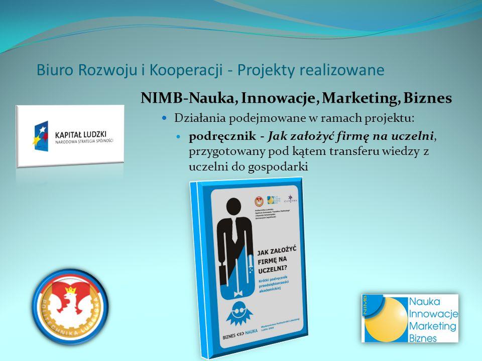 NIMB-Nauka, Innowacje, Marketing, Biznes Działania podejmowane w ramach projektu: podręcznik - Jak założyć firmę na uczelni, przygotowany pod kątem tr