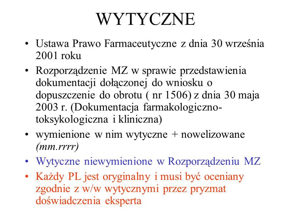 WYTYCZNE Ustawa Prawo Farmaceutyczne z dnia 30 września 2001 roku Rozporządzenie MZ w sprawie przedstawienia dokumentacji dołączonej do wniosku o dopu