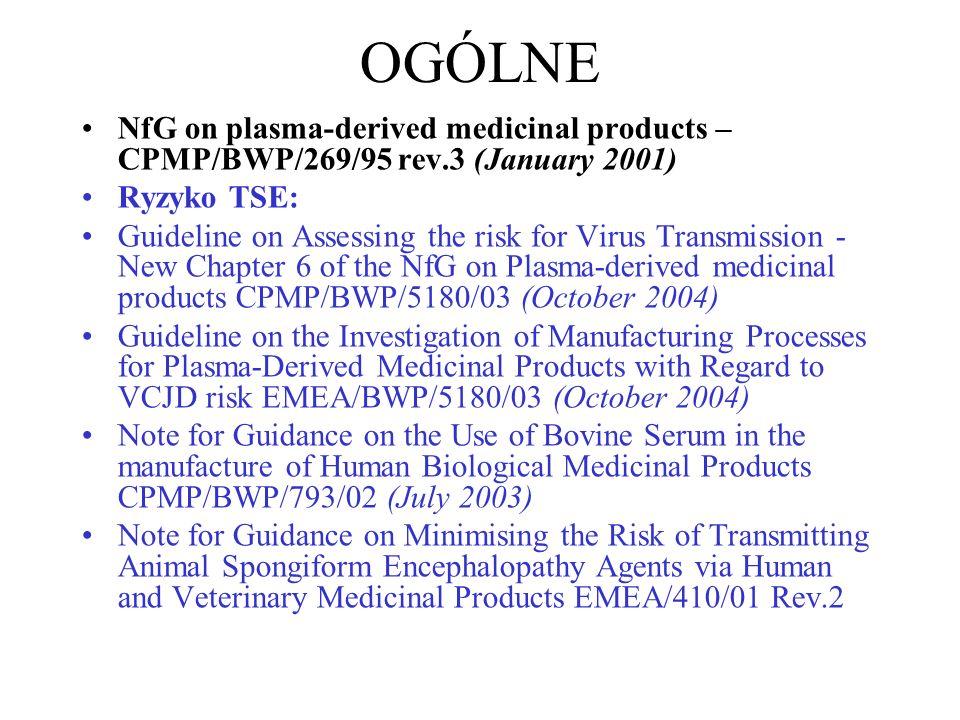 OGÓLNE NfG on plasma-derived medicinal products – CPMP/BWP/269/95 rev.3 (January 2001) Ryzyko TSE: Guideline on Assessing the risk for Virus Transmiss
