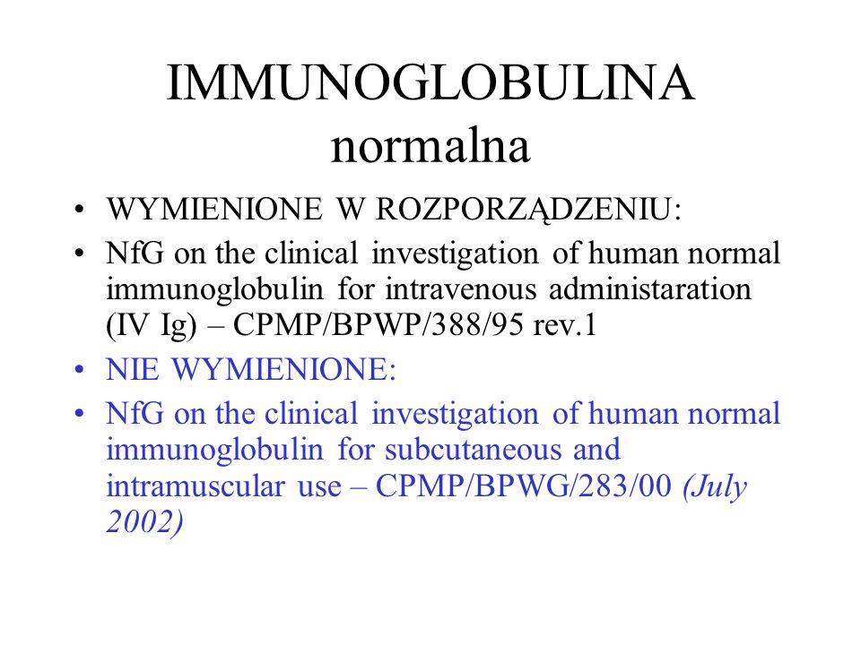 IMMUNOGLOBULINA normalna WYMIENIONE W ROZPORZĄDZENIU: NfG on the clinical investigation of human normal immunoglobulin for intravenous administaration