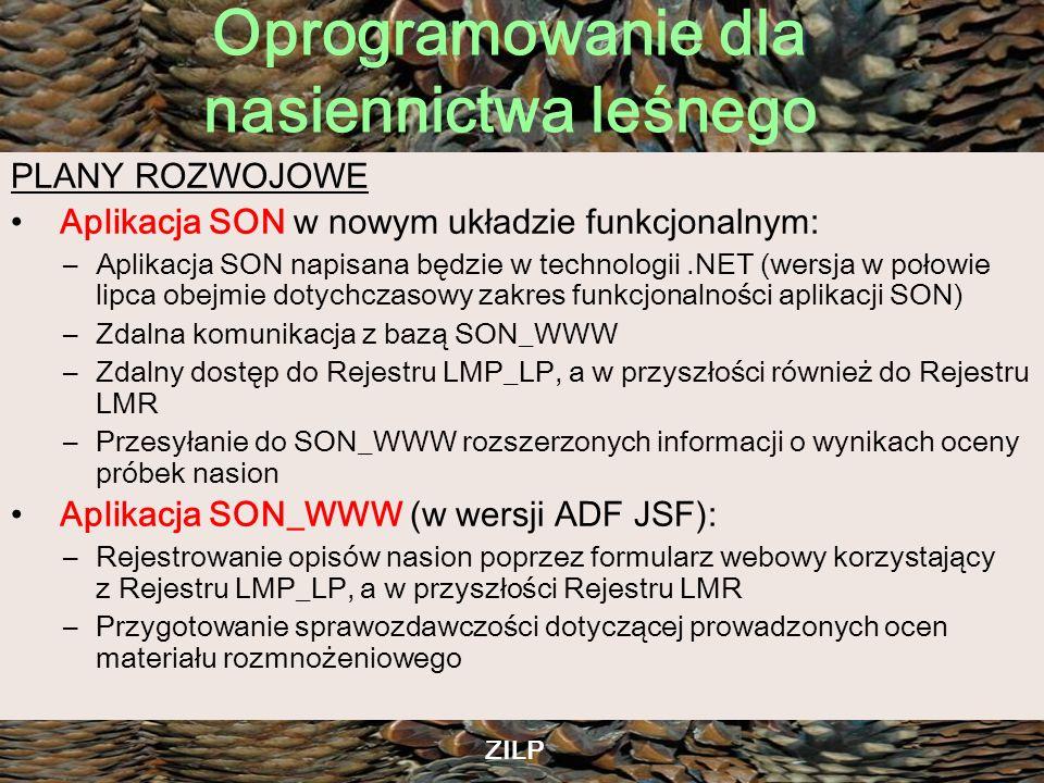 Oprogramowanie dla nasiennictwa leśnego ZILP PLANY ROZWOJOWE Aplikacja SON w nowym układzie funkcjonalnym: –Aplikacja SON napisana będzie w technologi