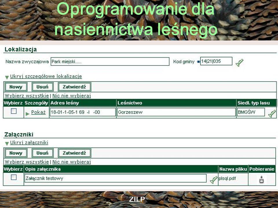 Oprogramowanie dla nasiennictwa leśnego ZILP Desktopowa aplikacja SON: –Pierwsze kompleksowe ujęcie informatyczne problematyki zapisu informacji o ocenach materiału rozmnożeniowego –Rozwiązanie desktopowe = lokalne dla każdej SON –Brak ujednolicenia wersji oprogramowania –Brak wspólnych dla wszystkich jednostek słowników kodowania informacji.