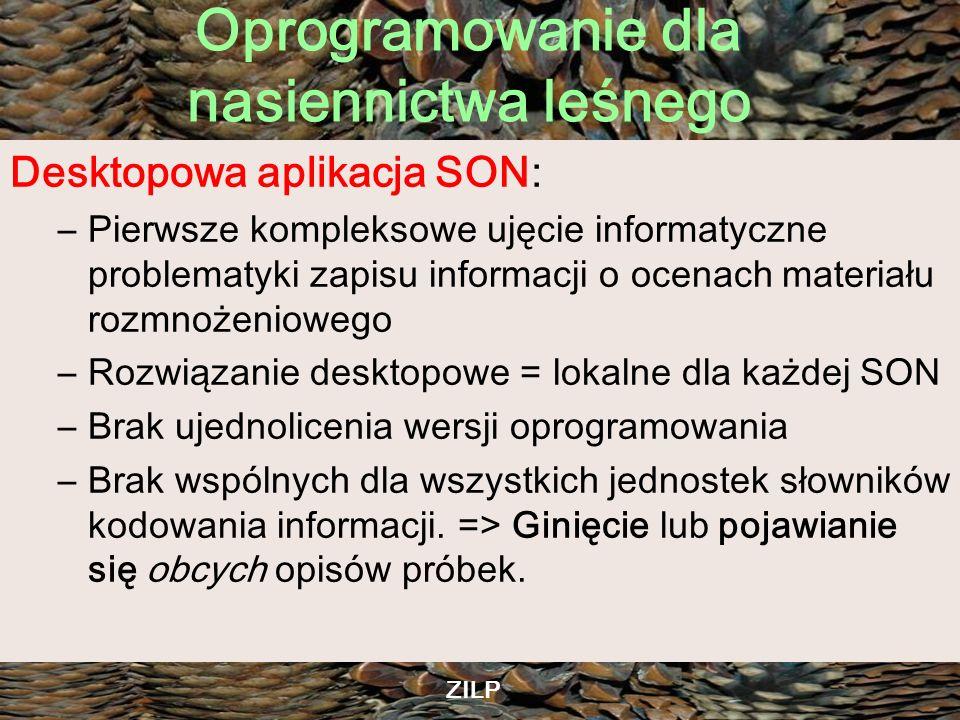 Oprogramowanie dla nasiennictwa leśnego ZILP Planowane aplikacje WEBOWE (?) Rejestr Leś.