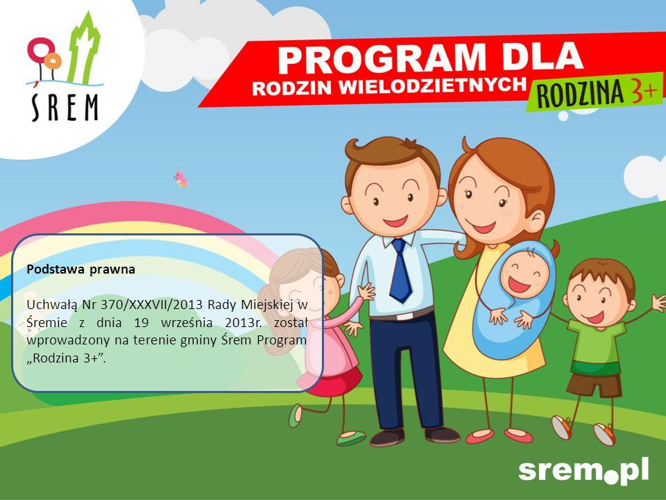 Podstawa prawna Uchwałą Nr 370/XXXVII/2013 Rady Miejskiej w Śremie z dnia 19 września 2013r. został wprowadzony na terenie gminy Śrem Program Rodzina