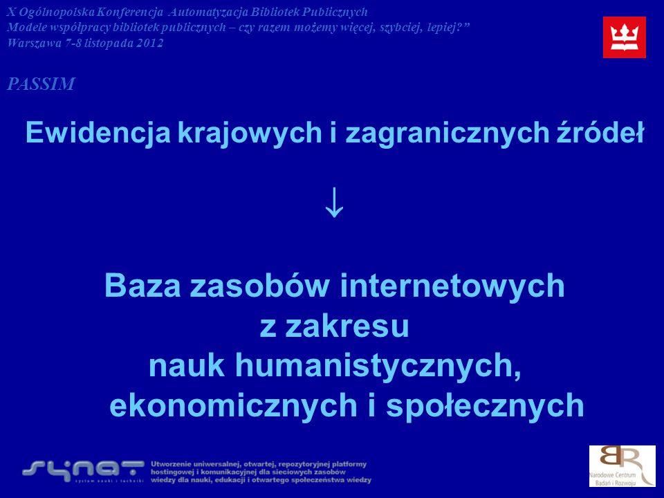 Ewidencja krajowych i zagranicznych źródeł Baza zasobów internetowych z zakresu nauk humanistycznych, ekonomicznych i społecznych X Ogólnopolska Konferencja Automatyzacja Bibliotek Publicznych Modele współpracy bibliotek publicznych – czy razem możemy więcej, szybciej, lepiej.