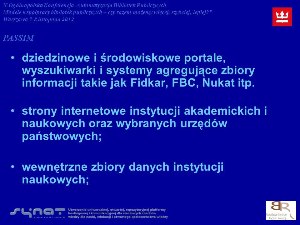 dziedzinowe i środowiskowe portale, wyszukiwarki i systemy agregujące zbiory informacji takie jak Fidkar, FBC, Nukat itp.