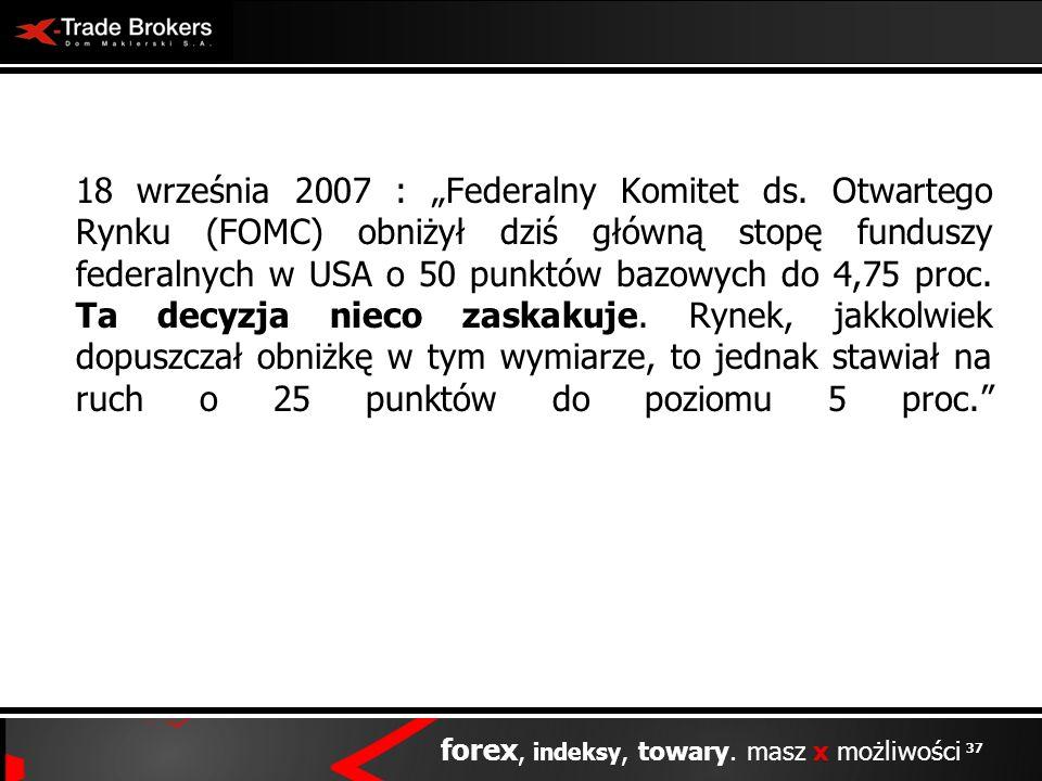 37 forex, indeksy, towary. masz x możliwości 18 września 2007 : Federalny Komitet ds. Otwartego Rynku (FOMC) obniżył dziś główną stopę funduszy federa