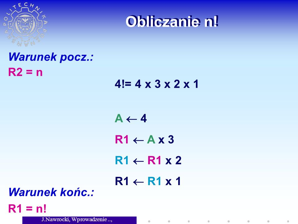 J.Nawrocki, Wprowadzenie.., Wykład 2 Obliczanie n.