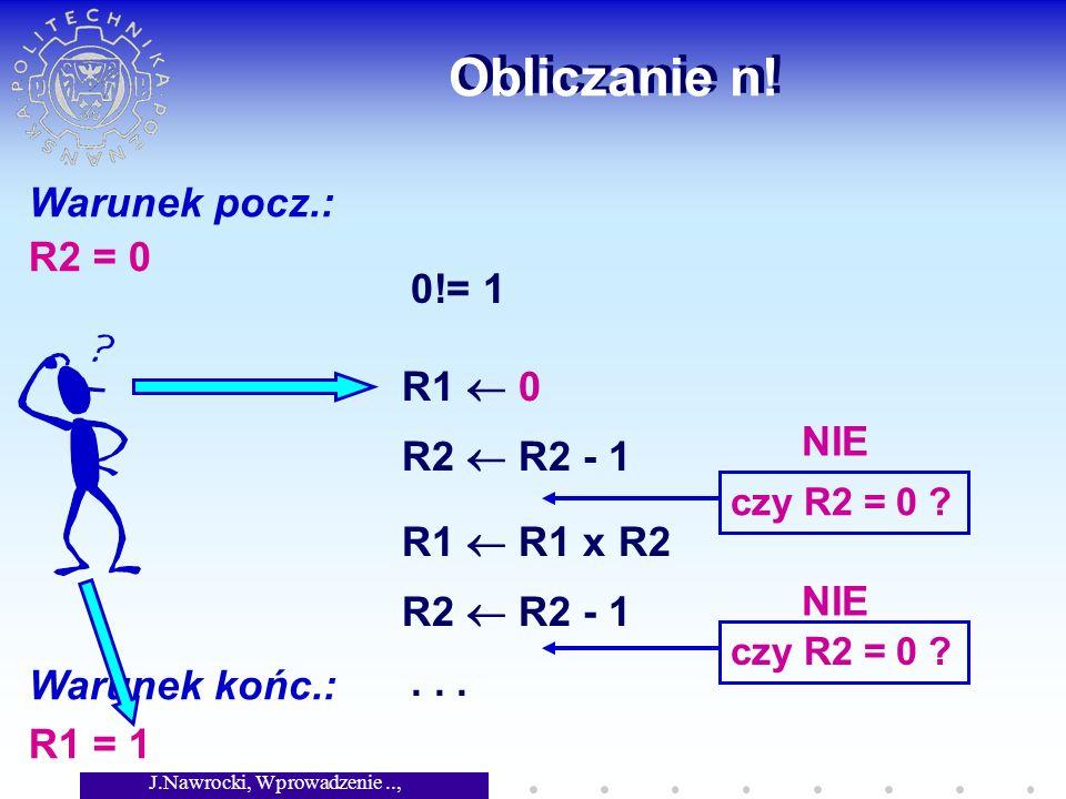 J.Nawrocki, Wprowadzenie.., Wykład 2 Obliczanie n! Warunek pocz.: R2 = 0 Warunek końc.: R1 = 1 0!= 1 R1 0 R2 R2 - 1 czy R2 = 0 ? R1 R1 x R2 R2 R2 - 1