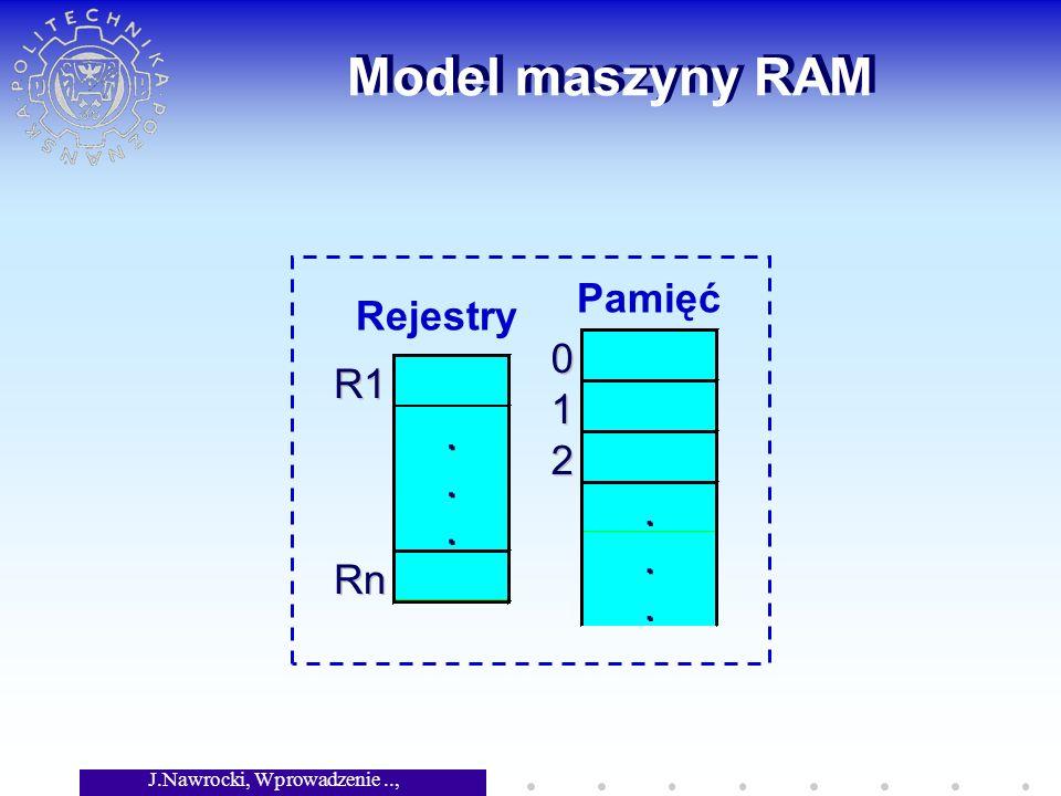 J.Nawrocki, Wprowadzenie.., Wykład 2 Model maszyny RAM