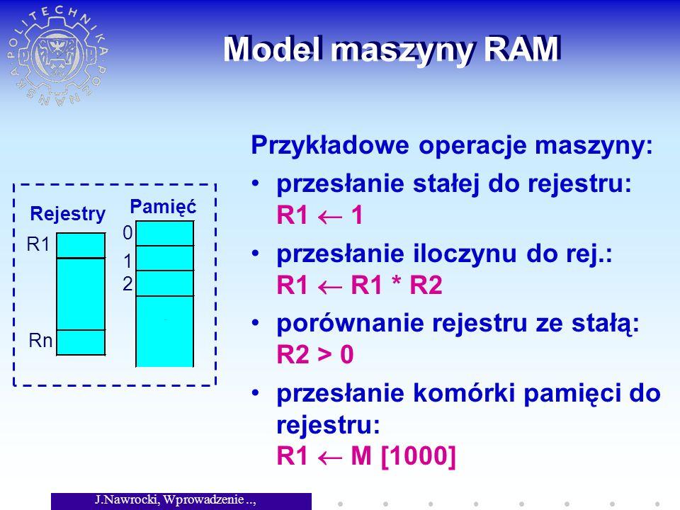 J.Nawrocki, Wprowadzenie.., Wykład 2 Model maszyny RAM Przykładowe operacje maszyny: przesłanie stałej do rejestru: R1 1 przesłanie iloczynu do rej.: R1 R1 * R2 porównanie rejestru ze stałą: R2 > 0 przesłanie komórki pamięci do rejestru: R1 M [1000]