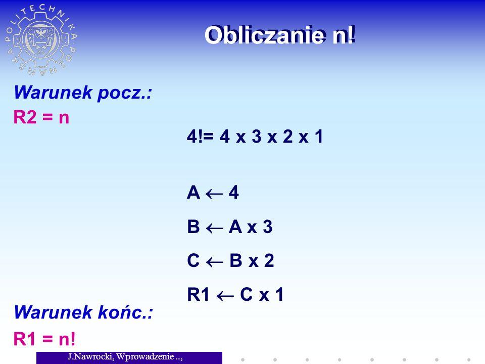 J.Nawrocki, Wprowadzenie.., Wykład 2 Obliczanie wielomianu P(x)= (((a n )*x + a n-1 )*x + a n-2 )*x + a n-3...