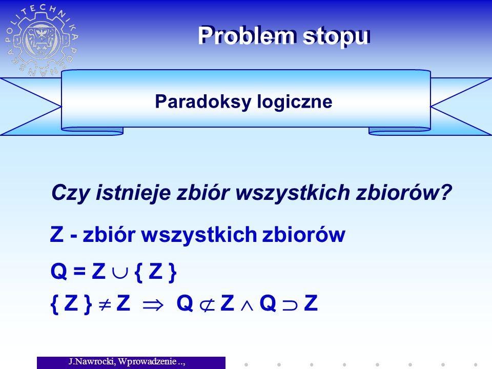 J.Nawrocki, Wprowadzenie.., Wykład 2 Problem stopu Czy istnieje zbiór wszystkich zbiorów? Z - zbiór wszystkich zbiorów Q = Z { Z } { Z } Z Q Z Q Z Par