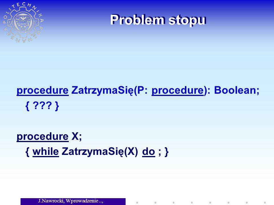 J.Nawrocki, Wprowadzenie.., Wykład 2 Problem stopu procedure ZatrzymaSię(P: procedure): Boolean; { ??? } procedure X; { while ZatrzymaSię(X) do ; }