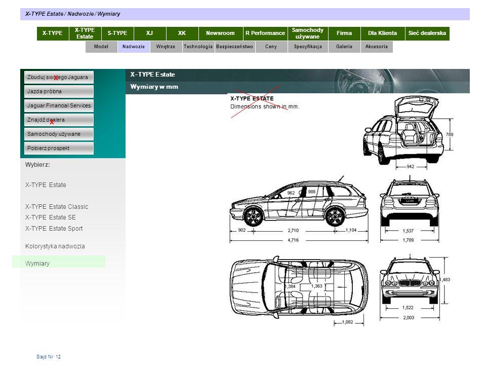 Slajd Nr 12 X-TYPE Estate S-TYPEXJXKR Performance Samochody używane Dla KlientaSieć dealerskaNewsroomFirma ModelTechnologiaBezpieczeństwoCenySpecyfika