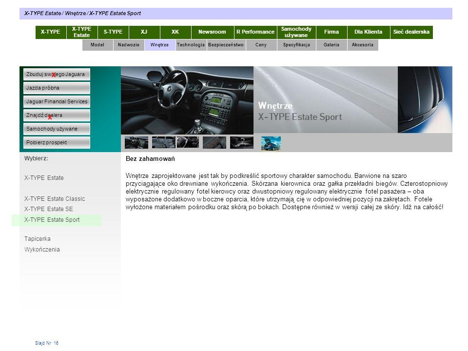 Slajd Nr 16 Bez zahamowań Wnętrze zaprojektowane jest tak by podkreślić sportowy charakter samochodu. Barwione na szaro przyciągające oko drewniane wy