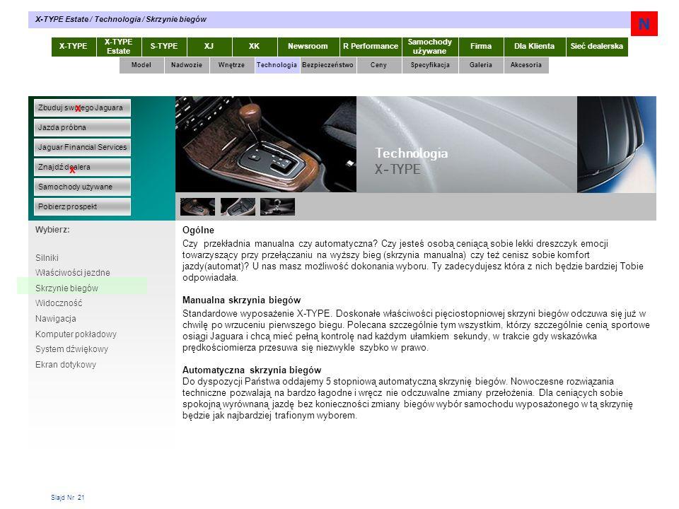 Slajd Nr 21 X-TYPE Estate S-TYPEXJXKR Performance Samochody używane Dla KlientaSieć dealerskaNewsroomFirma ModelTechnologiaBezpieczeństwoCenySpecyfika