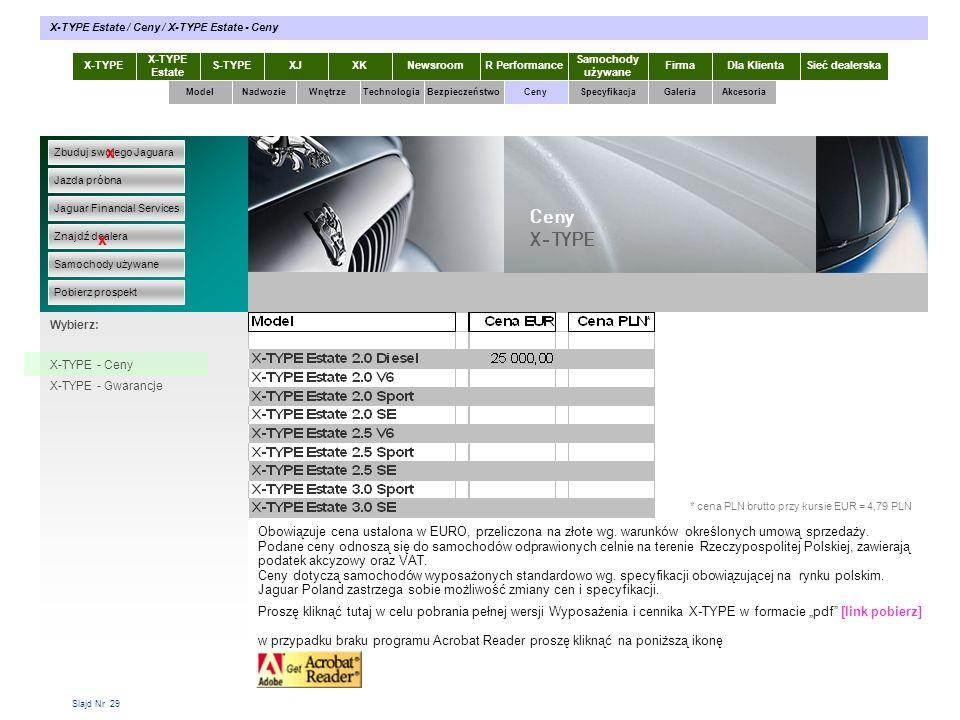 Slajd Nr 29 X-TYPE Estate S-TYPEXJXKR Performance Samochody używane Dla KlientaSieć dealerskaNewsroomFirma ModelTechnologiaBezpieczeństwoCenySpecyfika