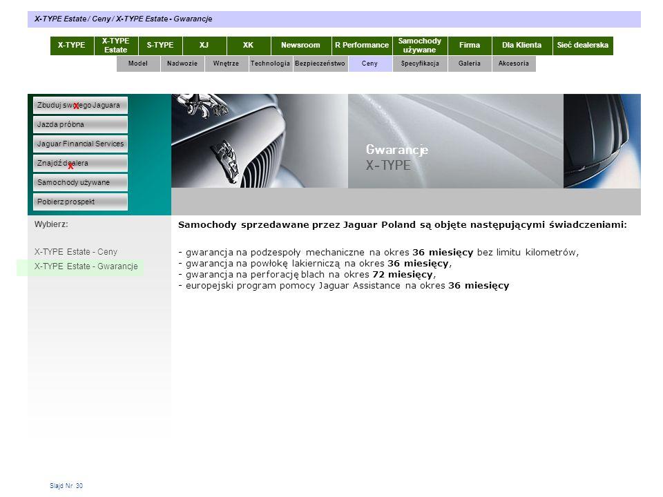 Slajd Nr 30 X-TYPE Estate S-TYPEXJXKR Performance Samochody używane Dla KlientaSieć dealerskaNewsroomFirma ModelTechnologiaBezpieczeństwoCenySpecyfika