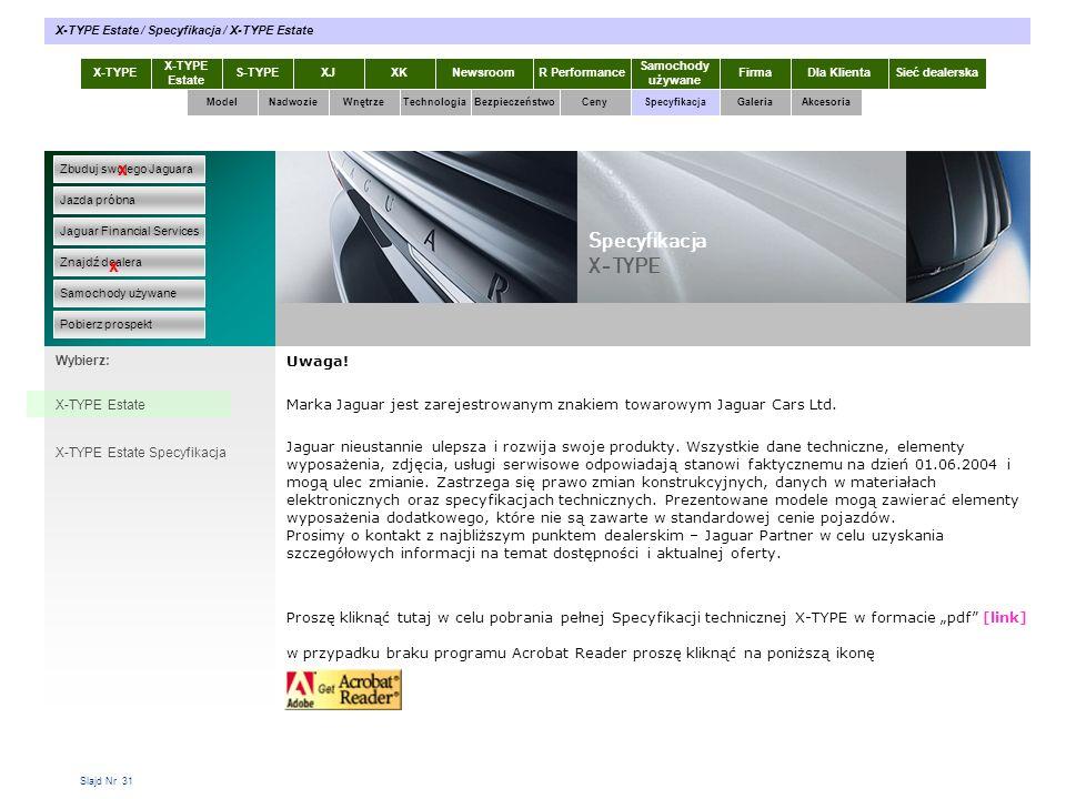 Slajd Nr 31 Uwaga! Marka Jaguar jest zarejestrowanym znakiem towarowym Jaguar Cars Ltd. Jaguar nieustannie ulepsza i rozwija swoje produkty. Wszystkie