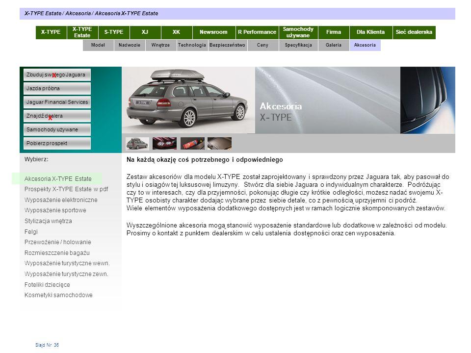Slajd Nr 36 Na każdą okazję coś potrzebnego i odpowiedniego Zestaw akcesoriów dla modelu X-TYPE został zaprojektowany i sprawdzony przez Jaguara tak,