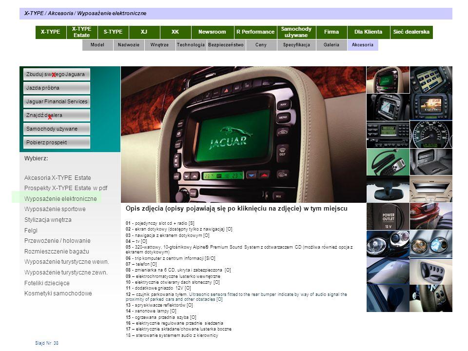 Slajd Nr 38 X-TYPE Estate S-TYPEXJXKR Performance Samochody używane Dla KlientaSieć dealerskaNewsroomFirma ModelTechnologiaBezpieczeństwoCenySpecyfika