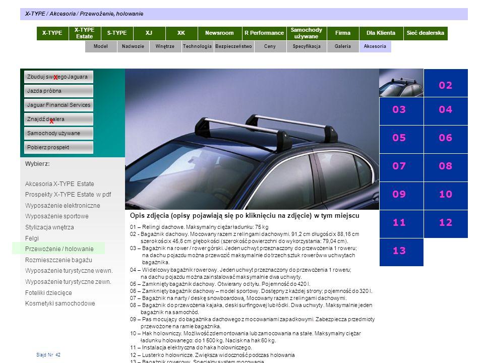 Slajd Nr 42 X-TYPE Estate S-TYPEXJXKR Performance Samochody używane Dla KlientaSieć dealerskaNewsroomFirma ModelTechnologiaBezpieczeństwoCenySpecyfika