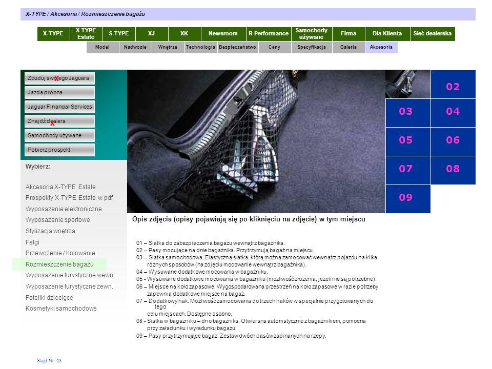 Slajd Nr 43 X-TYPE Estate S-TYPEXJXKR Performance Samochody używane Dla KlientaSieć dealerskaNewsroomFirma ModelTechnologiaBezpieczeństwoCenySpecyfika