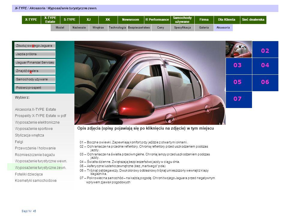 Slajd Nr 45 X-TYPE Estate S-TYPEXJXKR Performance Samochody używane Dla KlientaSieć dealerskaNewsroomFirma ModelTechnologiaBezpieczeństwoCenySpecyfika