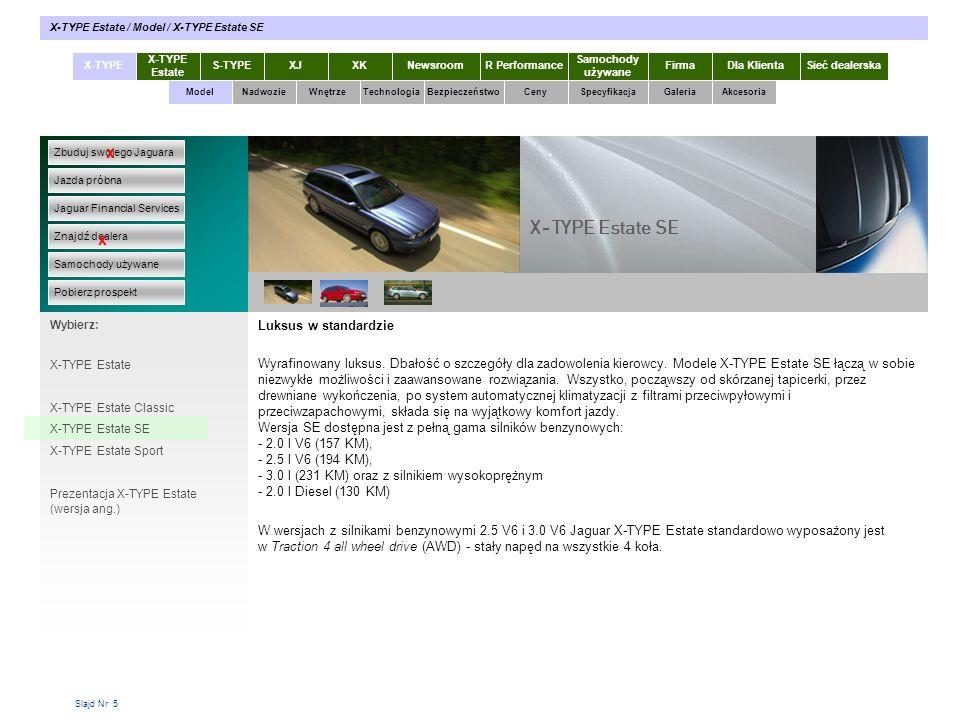 Slajd Nr 5 Luksus w standardzie Wyrafinowany luksus. Dbałość o szczegóły dla zadowolenia kierowcy. Modele X-TYPE Estate SE łączą w sobie niezwykłe moż